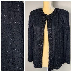 Laurence Kazar Silk Sequin Vintage Blazer PS